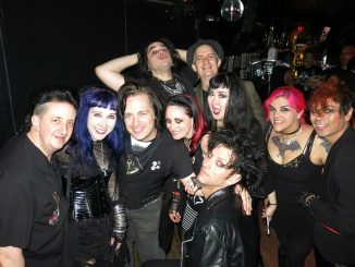 A Murder of Crows (from left to right): Martin Oldgoth, Brigitte Gothtart, Mark Splatter, Sean Templar (back), Naren Renz (back), Jenn Bats, Dave Bats (front), friend, friend, Andy Smith.